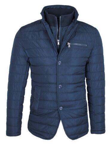 Elegant Jacket Mens Quilted Sartorial Blue Slim Fit with Vest Internal