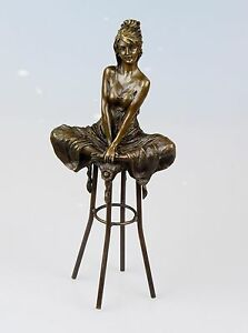 Bronze Figurine Femme Sur Tabouret De Bar Bronze Personnage Signé Pierre Collinet H: 27,5-afficher Le Titre D'origine ArôMe Parfumé