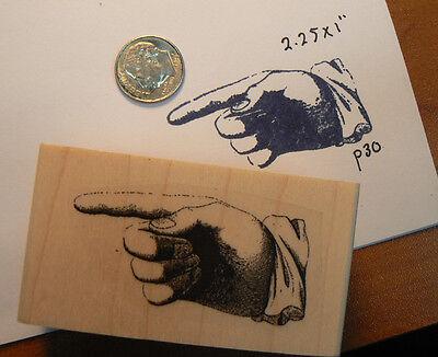 "Vintage pointing finger rubber stamp WM 2x1"" P30"