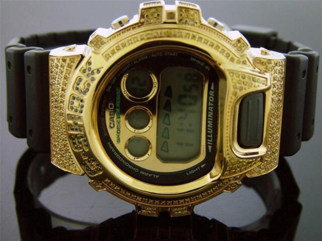 New Casio G Shock 2.50 Ct Full Case canary diamonds Gold tone case Gold face