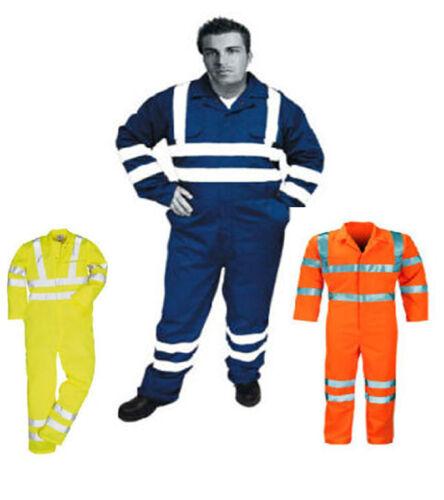 FR IGNIFUGE anti statique Combinaison Chaudière Costume Hivis jaune orange bleu marine