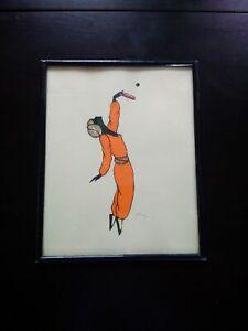 Rare-decoupage-danseuse-femme-Art-Deco-1920-1930-signe-collage-tissu-amp-dentelle