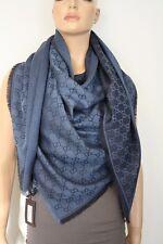 GUCCI Strickschal mit GG Jacquard-Muster 140x140 cm Wolle/Seide blau NEU 281942