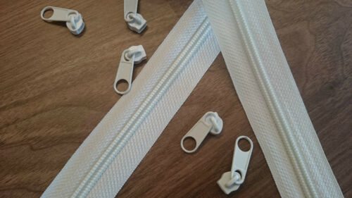 Upholstery Continuous zip N5 50 mtr white /& 100 sliders good quality