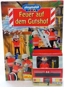 FEU-SUR-LA-GUTSHOF-Playmbil-Pompier-POP-UP-LIVRE-FIGURINE-de-1999-RARE