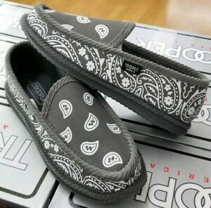 c521e1d44545f Details about TROOPER AMERICA MEN'S HOUSE SHOES PAISLEY BANDANA SLIPPER  GREY / WHITE GRWH