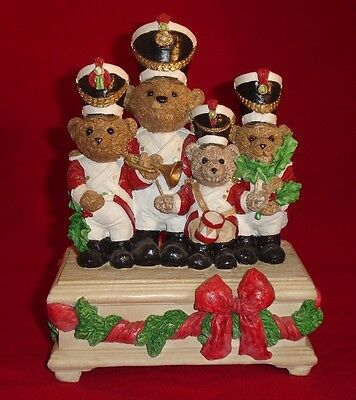 United Design Christmas Bears Marching Band Music Box Hallmark Numbered 350