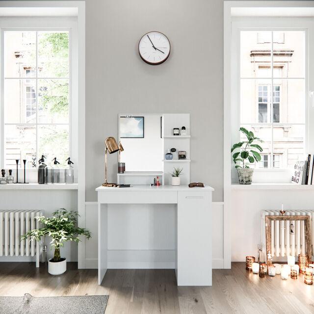 Vicco Coiffeuse Julia miroir d'angle maquillage table de toilette Blanc