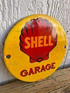 VINTAGE SHELL GARAGE PORCELAIN PUMP PLATE ENAMEL OIL SIGN, AMERICAN GAS PUMP