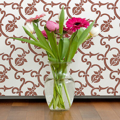 Flower Allover Trellis Wall Stencils Abel for DIY Decor Wallpaper Look