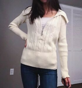 DKNY Womens Cream Colored Sweater Half Zip Ribbed Cable Cotton Acrylic MEDIUM