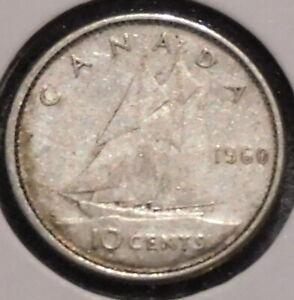 Canada-Dime-1960-Queen-Elizabeth-II-1-Unlimited-Shipping