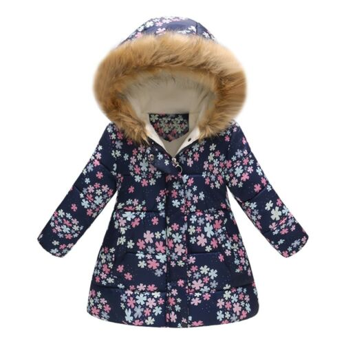 Toddler Baby Girl Outwear Winter Cartoon Print Warm Jacket Hooded Windproof Coat