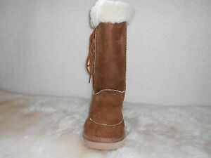 Ugg-Boots-Tall-Synthetic-Wool-Lace-Up-Size-8-Ladys-Mens-6-Colour-Chestnut