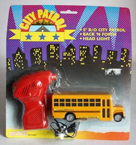"VERY RARE VINTAGE 80'S CITY PATROL 5"" SCHOOL BUS B/O EVERBRIGHT TOYS NEW MOSC !"