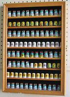 91 Thimble Display Case Shadow Box Wall Cabinet, Hardwood, With Door-oak Finish