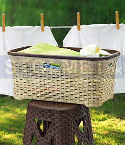 40litre-RATTAN-Lacy-Wicker-style-Rectangle-Laundry-Basket-Plastic-like-Curver
