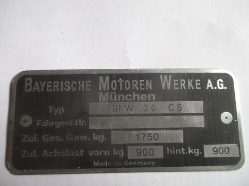 Typenschild BMW 3.0 CS Schild id-plate 3.0cs 3,0 CSi E9 coupe E 9 1750 kg S48
