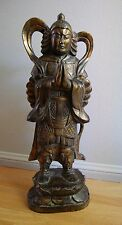 LARGE, ANTIQUE CHINESE CARVED & GILT WOOD TEMPLE FIGURE of GUANDI [WARRIOR]