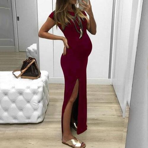 Womens Ladies Maternity Maxi Dress Pregnant Pregnancy Short Sleeve Slit Clothing