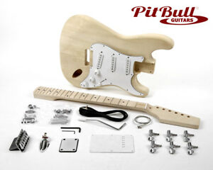 pit bull guitars st 1m electric guitar kit (maple fretboard) ebayimage is loading pit bull guitars st 1m electric guitar kit