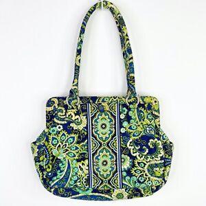Vera-Bradley-Rhythm-amp-Blues-Clamshell-Handbag-Purse-Tote-Shoulder-Bag