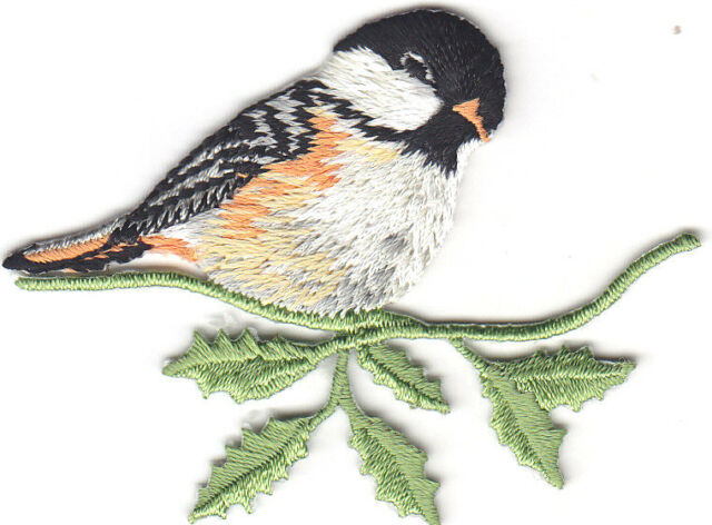 BIRD - CHICKADEE ON BRANCH - FACING RIGHT - Iron On Embroidered Applique