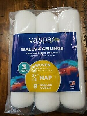 10 Individually wrapped Valspar 9-in x 3//8-in Woven Polyester Paint Roller Cover