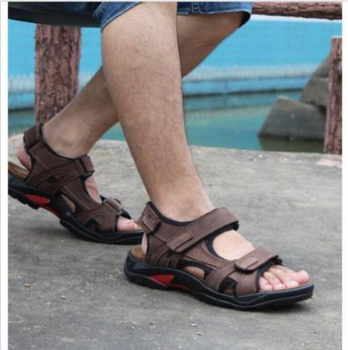 Open Toe Mens Leather  Summer Sandles Sport Sandal Hiking Casual Shoes
