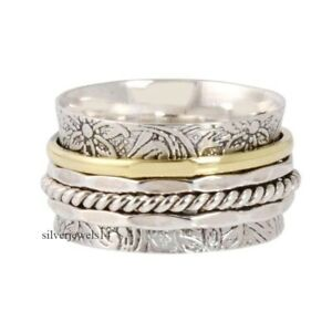 Solid-925-Sterling-Silver-Meditation-Statement-Spinner-Ring-Jewelry-gs268