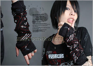 Punk-Rock-Gothic-Bandage-Fingerless-Glove-Are-Warmers-395-BLACK-RED