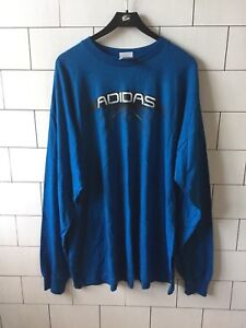 3de6c4cf13 Details about MENS ADIDAS USA VINTAGE RETRO BLUE THIN SWEATER BOLD LONG  SLEEVE T SHIRT 2XL