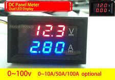 Dc 0 100v Digital Led Voltmeter Ammeter Amp Volt Meter 10a 50a 100a 12v 24v Car