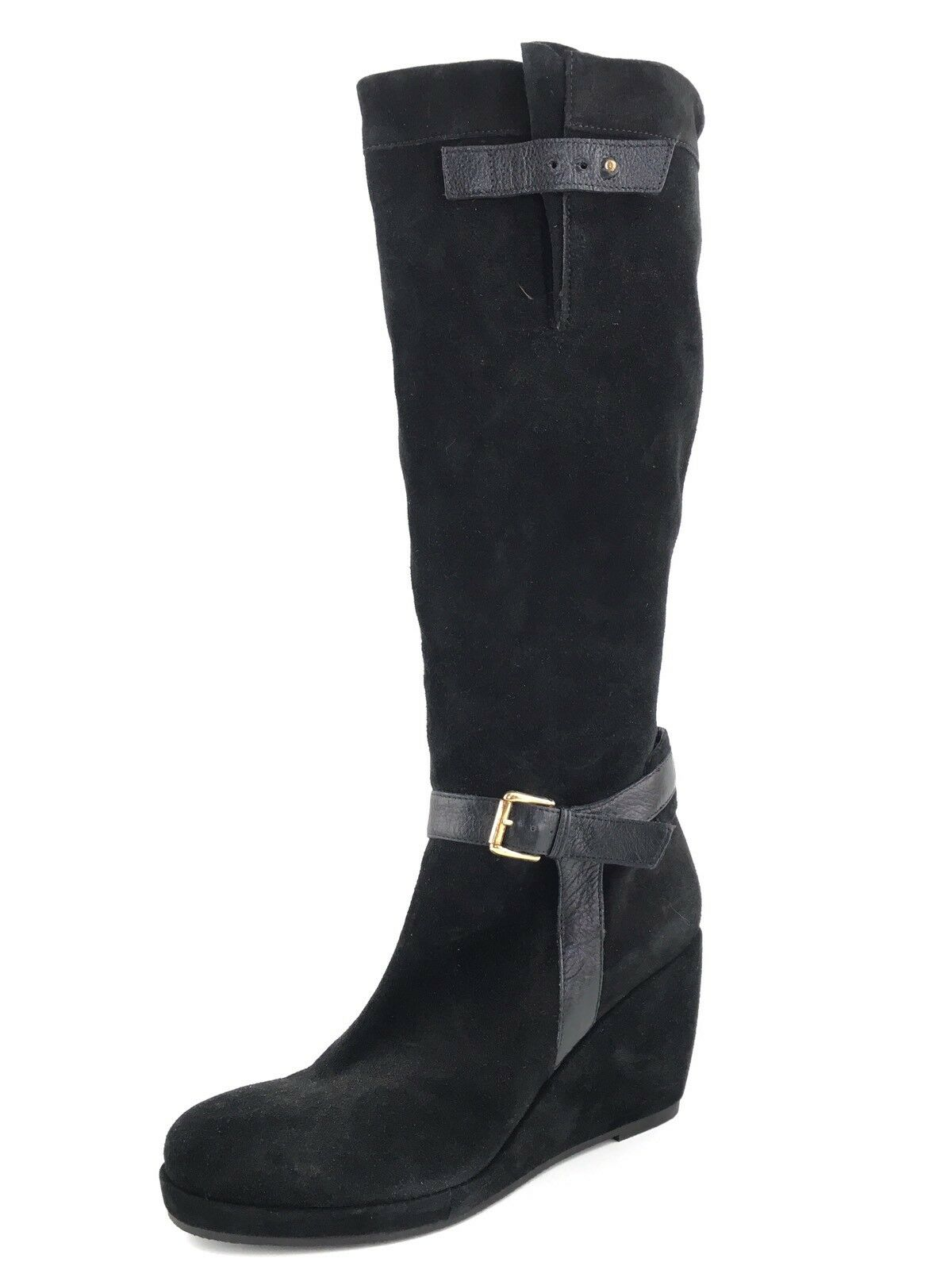 New Anyi Lu Blaire Black Suede Knew High Wedge Boots Womens Size 9.5 M  695