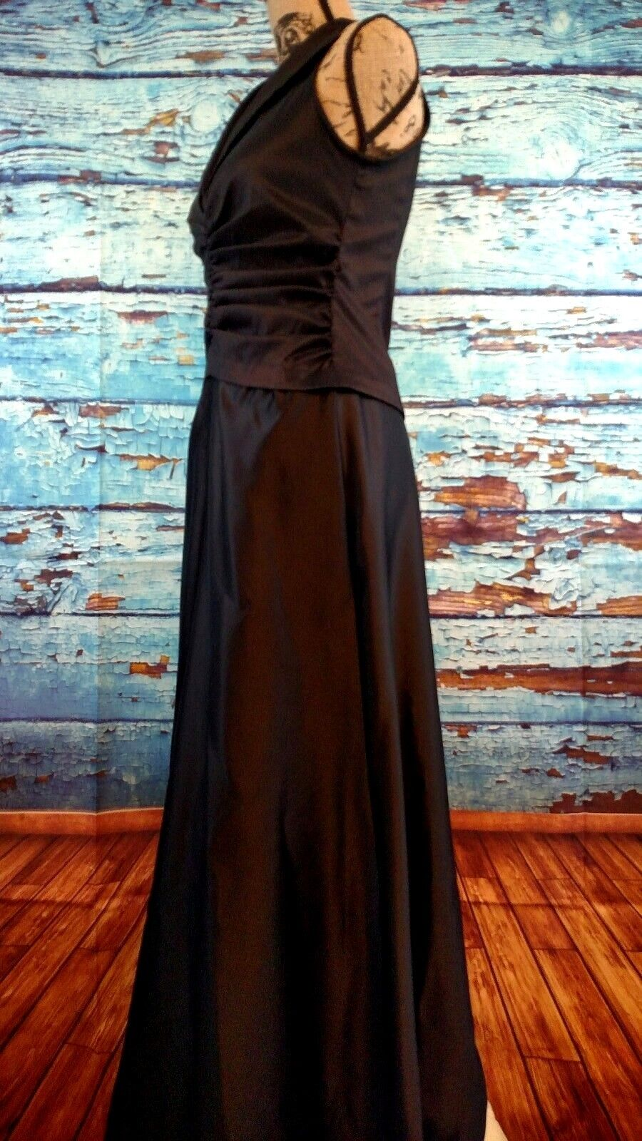 TADASHI Collection schwarz collarot ruched cocktail formal long gown dress Größe 6