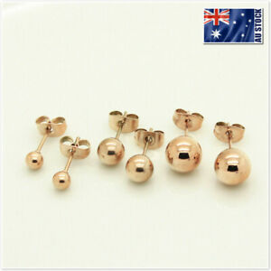 New-18K-Rose-Gold-Filled-Solid-Round-Ball-Beads-Cartilage-Piercing-Stud-Earrings