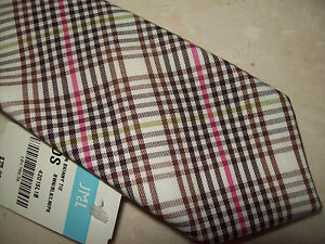 J-McLaughlin-100-Cotton-Plaid-Skinny-Necktie-NWT-75-Made-in-USA