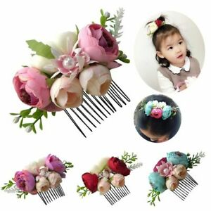 Gift-Glitter-Floral-Baby-Pearl-Hairpin-Girls-Hair-Clip-Leaves-Flower-Hair-Comb