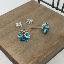 Blue Butterfly Crystal Titanium Post Stud Earrings Made in Korea US Seller
