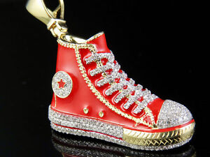 ecf7e77c00d2 10K Yellow Gold Converse All Star Red Shoe Genuine Diamonds Pendant ...