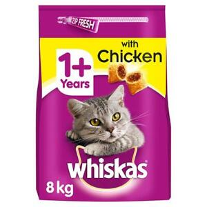 8kg Whiskas 1+ Adult Complete Dry Cat Food with Chicken Cat Biscuits (4 x 2kg)