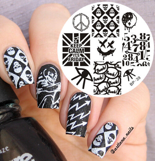 Born Pretty Nail Art Stamping Plate Punk Style Skull Image Template
