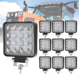 10Pcs 4Inch Square LED Work Light 80W Flood Work Light Offroad Driving Lights
