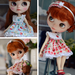 "【Tii】blue dress outfit 12/"" 1//6 doll Blythe//Pullip//azone Clothes Handmade girl"