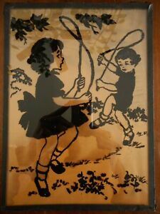 School Kids Art Silhouette 1940's Reverse painted on glass ? Skipping Rope Kitsc
