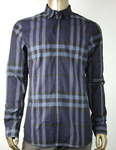 prezzo competitivo 586bb 1b7f2 Dettagli su Nuovo Burberry Uomo Blu Navy Grigio Cotone Scacchi Camicia  Vestito 3944129