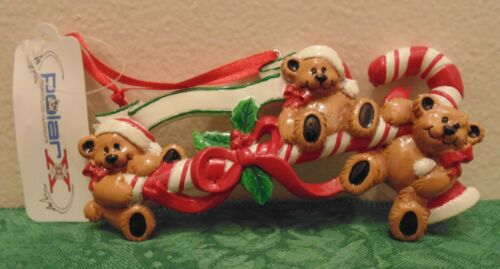 Personalized Teddy Bears Family of 3 around a Candy Cane Christmas Tree Ornament