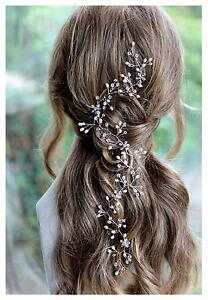 Bridal Hair Accessory Cascading Vine Freshwater Pearl Crystal