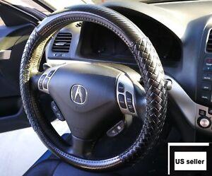 New Universal Black Steering Wheel Cover Leather D Glossy Carbon - Acura steering wheel cover