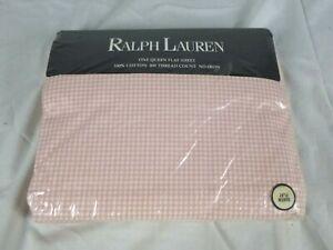 NEW Ralph Lauren Small Pink Gingham QUEEN Flat Sheet 100% Cotton